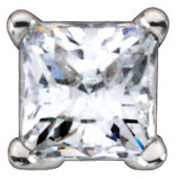 4-Prong Earrings Mounting for Square Shape Centergem Sized 2.00 mm to 6.50 mm - Customize Metal or Gem Type
