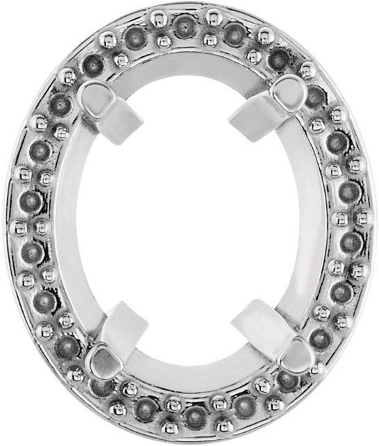4-Prong Halo Style Earring Mounting For Oval Shape Centergems Sized 5.00 x 3.00 mm to 11.00 x 9.00 mm - Customize Metal or Gem Type