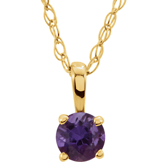 Contemporary 14 Karat Yellow Gold Amethyst 14