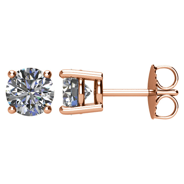 Great Gift in 14 Karat Rose Gold 0.50 Carat Total Weight Diamond Earrings