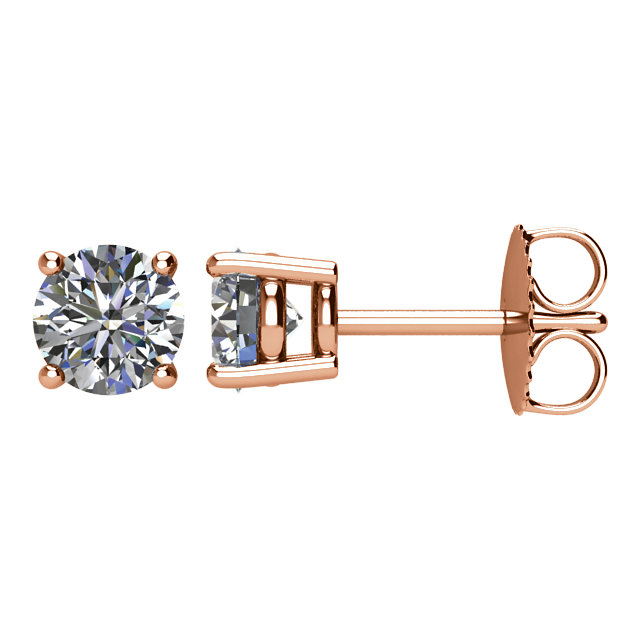 Eye Catchy 14 Karat Rose Gold 1 Carat Total Weight Diamond Earrings