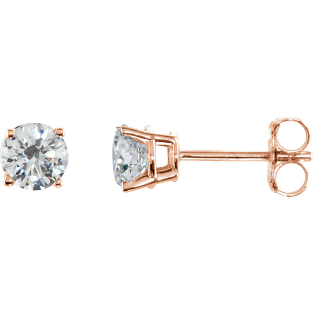 Very Nice 14 Karat Rose Gold 0.75 Carat Total Weight Diamond Earrings