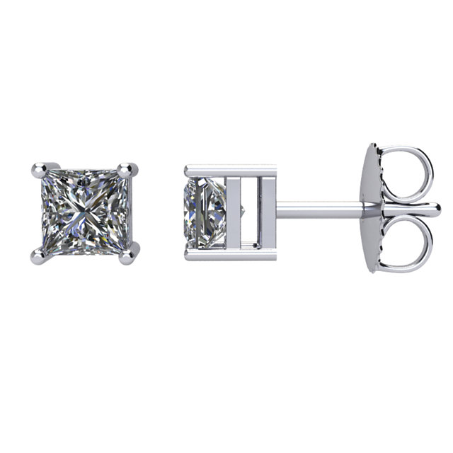 Great Buy in 14 Karat White Gold 0.75 Carat Total Weight Diamond Earrings