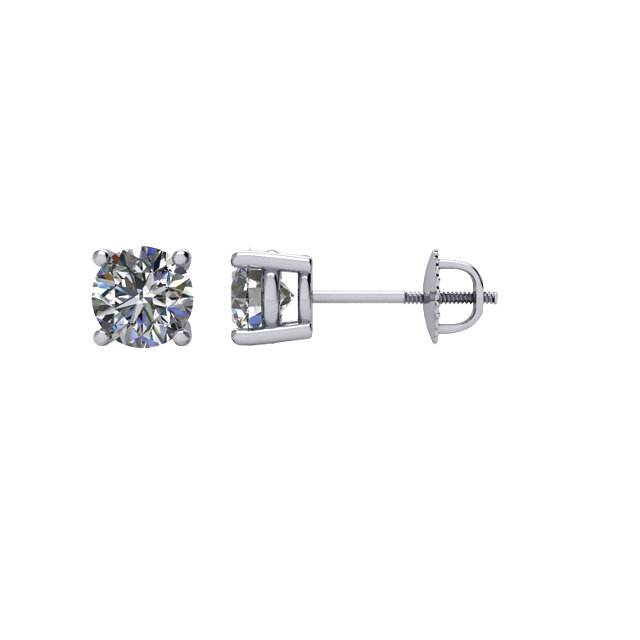 Appealing Jewelry in 14 Karat White Gold 0.75 Carat Diamond Threaded Post Stud Earrings