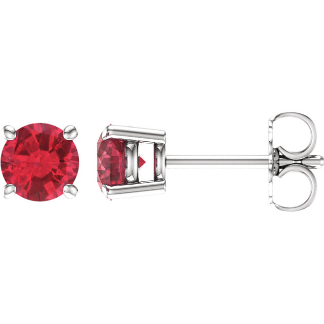 Quality 14 KT White Gold 5mm Round Ruby Earrings