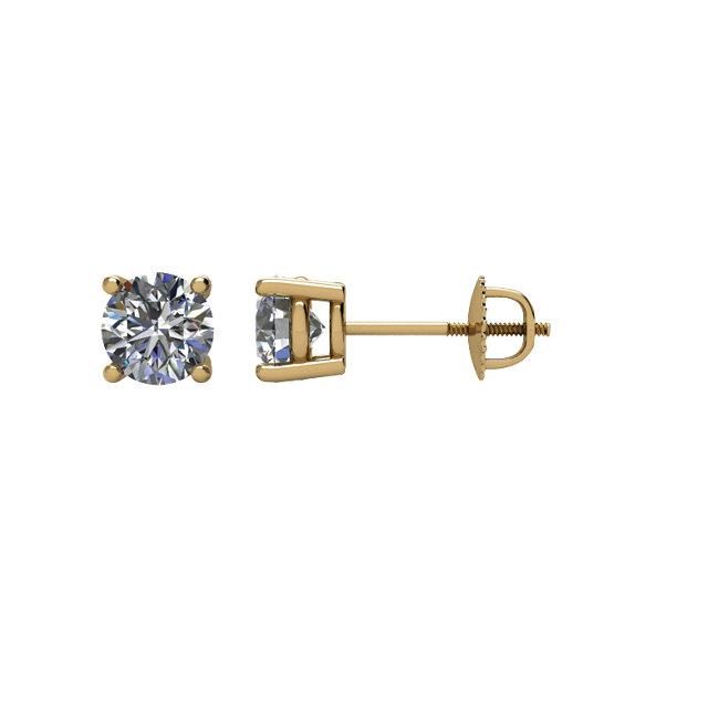 Great Gift in 14 Karat Yellow Gold 0.75 Carat Diamond Threaded Post Stud Earrings