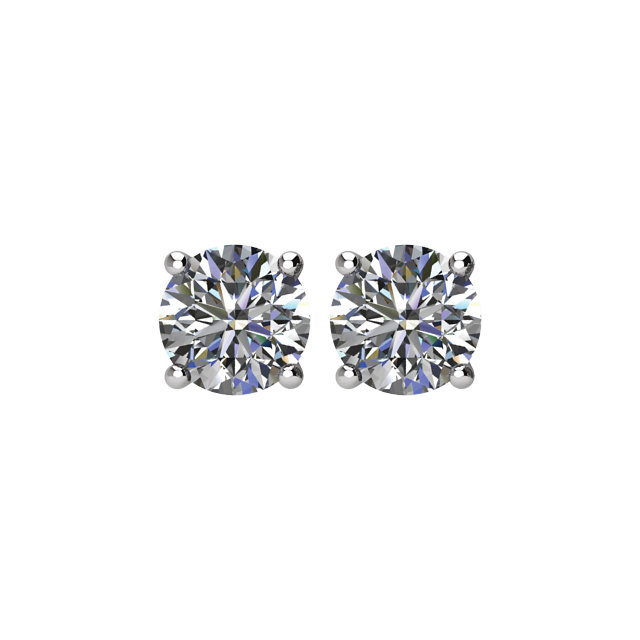 Wonderful Platinum 1 Carat Total Weight Diamond Earrings