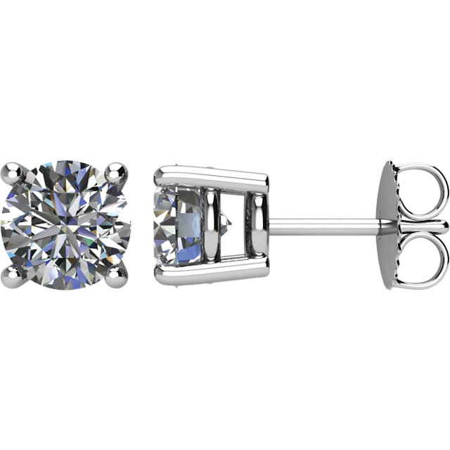Gorgeous Platinum 2 Carat Total Weight Diamond Earrings
