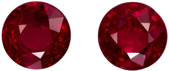 5.0 mm, 1.44 carats Perfect Rubies Pair, Open Intense Red Color in Round Cut - Stunning!