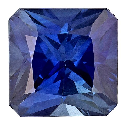 5.0 mm Blue Sapphire Genuine Gemstone in Square Cut, Medium Rich Blue, 0.8 carats