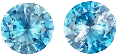 Gorgeous 5.02 carat Blue Zircon Gemstone in Matched Pair Round Cut 8.5 mm