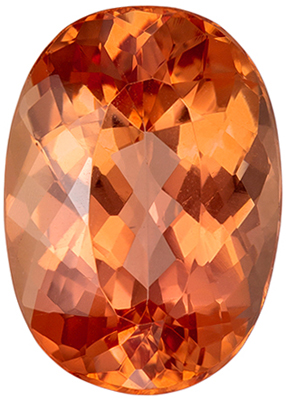 Rare Gem in 5.05 carats Imperial Topaz Loose Gemstone in Oval Cut, Intense Peach Sherry Color in 12.4 x 8.9 mm