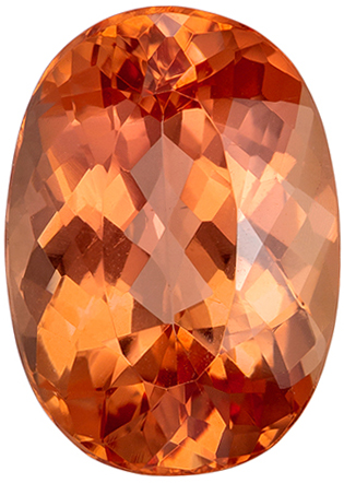 5.05 carats Imperial Topaz Loose Gemstone in Oval Cut, Peach Sherry, 12.4 x 8.9 mm