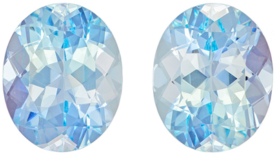 5.08 carats Pair of Aquamarine Loose Gemstones in Oval Cut, Medium Blue, 10 x 8 mm