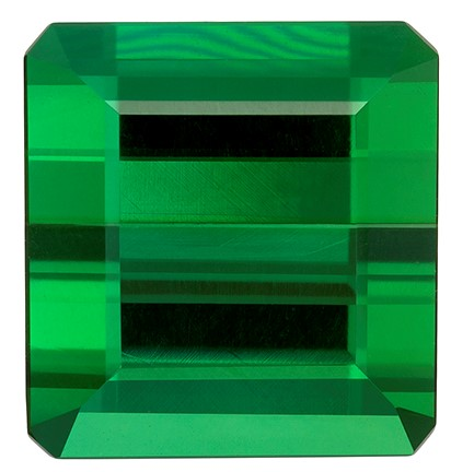 5.08 carats Green Tourmaline Loose Gemstone in Emerald Cut, Rich Grass Green, 9.7 x 9.3 mm