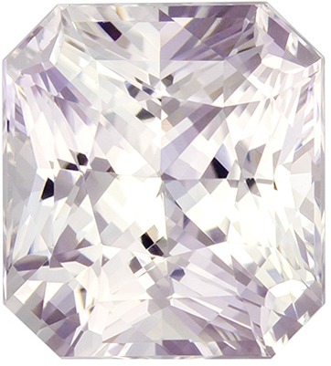 5.08 carats White Sapphire Loose Gemstone in Radiant Cut, Very Colorless White, 9.4 x 8.4 mm
