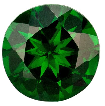 5.1 mm Tsavorite Genuine Gemstone in Round Cut, Vivid Rich Green, 0.55 carats