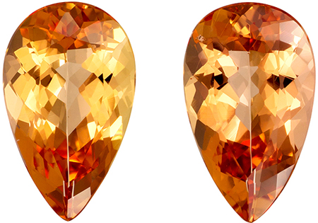 5.14 carats Imperial Topaz 2 Piece Matched Pair in Pear Cut, Rich Peach Sherry, 12 x 7.2 mm