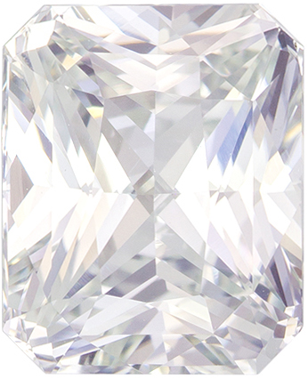 5.14 carats White Sapphire Loose Gemstone in Radiant Cut, Very Colorless White, 10 x 8.2 mm