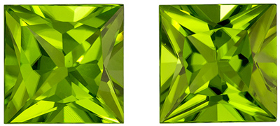 So Pretty 5.14 carats Green Peridot Princess Genuine Gemstone, 8 mm