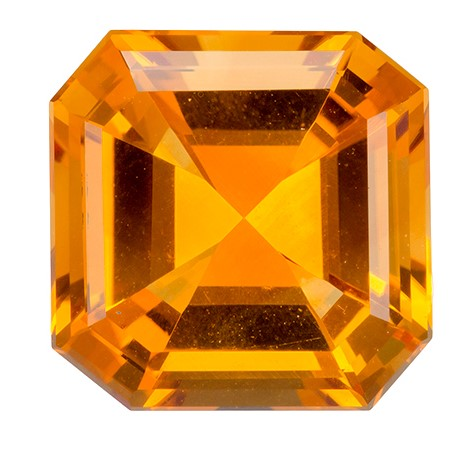 5.27 carats Citrine Loose Gemstone in Emerald Cut, Golden Yellow, 11.3 mm
