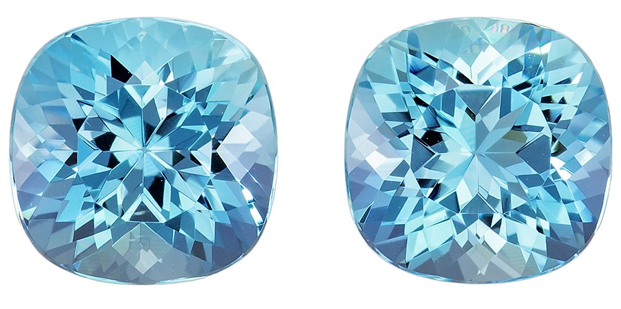 Stunning Pair of Aquamarine Gems, 5.30 carats, Rich Blue Cushion Cut, 8.8mm Size