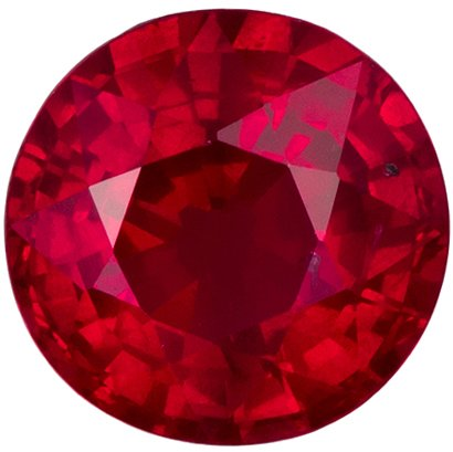 5.3 mm, 0.74 carats Super Bright Ruby Gemstone in Intense Open Red Round Stone - SOLD