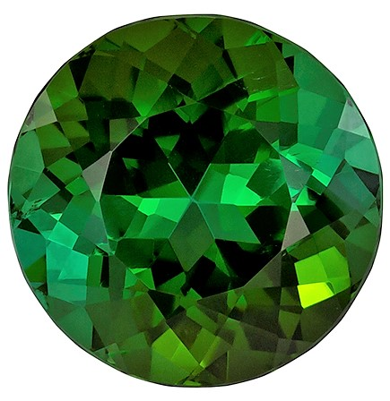 5.32 carats Green Tourmaline Loose Gemstone in Round Cut, Forest Green, 10.9 mm