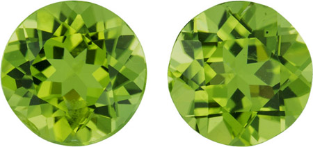 Perfect Earring Stud Peridots in Well Matched Pair in Round Cut, 9.0 mm - Great Deal, 5.37 carats