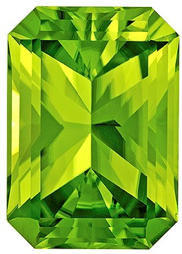 Terrific Buy on Green Peridot Loose Gemstone, 5.37 carats, Radiant Cut, 12.4 x 8.8  mm , Wonderful Gem - Great Deal
