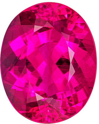 5.38 carats Rubellite Tourmaline Loose Gemstone Oval Cut, Intense Rich Fuchsia, 12.6 x 10.1 mm