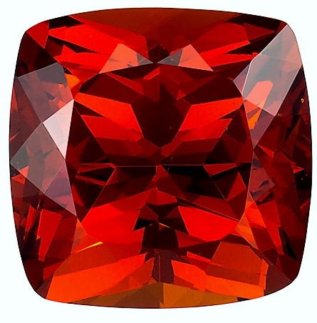 5.4 carats Orange Spessartite Loose Gemstone in Cushion Cut, Vivid Orange Red, 9.6 mm