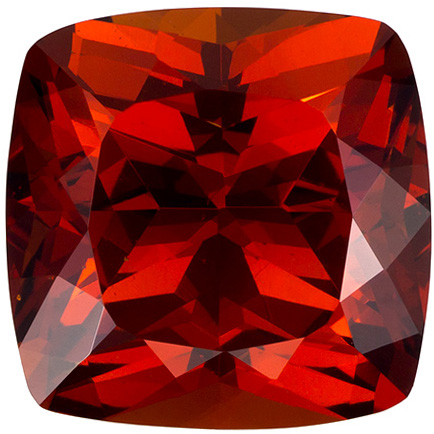 5.4 carats Orange Spessartite Loose Gemstone Cushion Cut, Vivid Orange Red, 9.6 mm