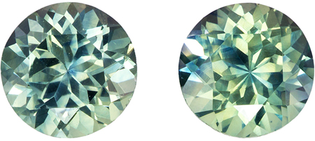 5.4 mm Blue Green Sapphire Matched Gemstone in Pair in Round Cut, Teal Blue, 1.75 carats