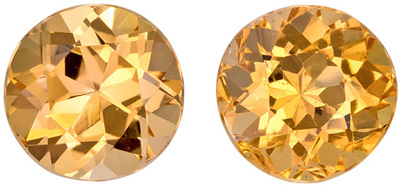 5.4 mm Precious Topaz Matched Gemstone in Pair in Round Cut, Golden Peach, 1.68 carats