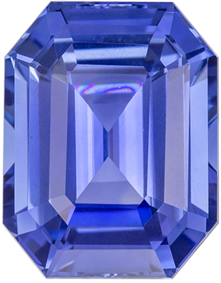 Very Eye Catching Sapphire Natural Gem, 11.1 x 8.7mm, Rich Cornflower Blue, Emerald Cut, 5.44 carats