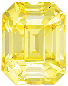 Attractive Sapphire Loose Gem, 5.45 carats, Pure Yellow, Emerald Cut, 10.1 x 7.8mm