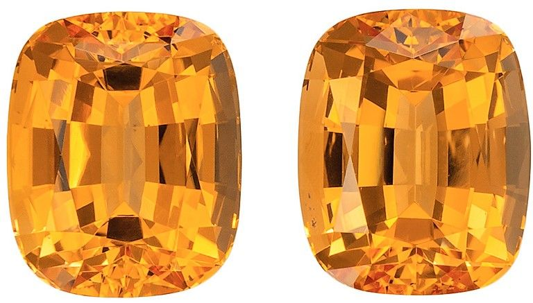 5.48 carats Precious Topaz 2 Piece Matched Pair in Cushion Cut, Peachy Golden, 8.3 x 6.8 mm