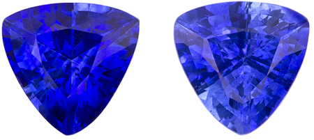 5.5 mm Blue Sapphire Matched Gemstone in Pair in Trillion Cut, Vivid Blue, 1.47 carats