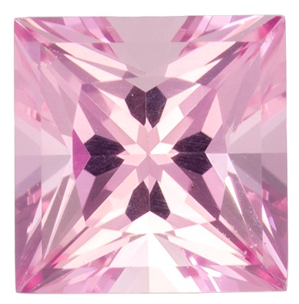 5.5 mm Pink Tourmaline Genuine Gemstone in Princess Cut, Light Baby Pink, 0.88 carats