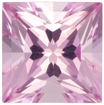 5.5 mm Pink Tourmaline Genuine Gemstone Princess Cut, Light Baby Pink, 0.88 carats