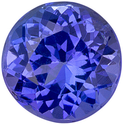 Rare Stone in 0.7 carats Tanzanite Loose Gemstone in Round Cut, Rich Blue Purple, 5.5 mm