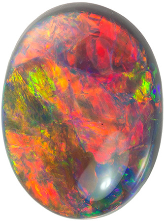 One of A Kind Neon Like Black Opal Gemstone from Australia in Oval Shape, Neon Like Colors in Red, Orange, Blue, Green & Yellow, 5.56 carats , 15.2 x 11.2 mm - A Must See!