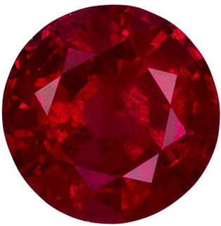 5.6 mm, 0.78 carats Ruby Gemstone in Round Cut, High Color in Vivid Intense Red Round Gem - SOLD