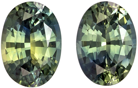 5.6 x 4 mm Green Sapphire 2 Piece Matched Pair in Oval Cut, Medium Green, 1.06 carats