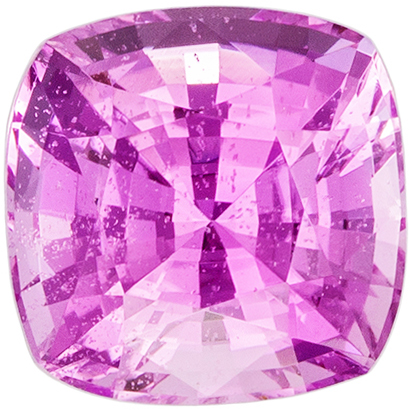 5.6 x 5.5 mm Pink Sapphire Genuine Gemstone in Cushion Cut, Vivid Pink, 1.11 carats