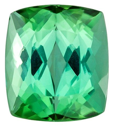 Loose Green Tourmaline Gemstone, 5.61 carats, Cushion Cut, 10.7 x 9.4 mm, Must See This Gem