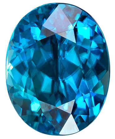 5.64 carats Blue Zircon Loose Gemstone in Oval Cut, Rich Teal Blue, 10.5 x 8.3 mm