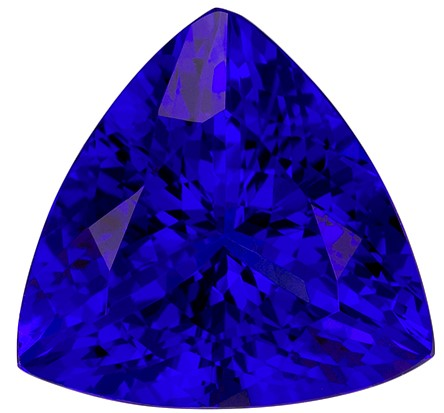 5.67 carats Tanzanite Loose Gemstone in Trillion Cut, Intense Blue Purple, 11.6 mm