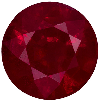 5.7 mm Ruby Genuine Gemstone in Round Cut, Rich Red, 0.99 carats